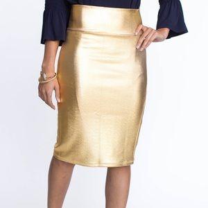 Agnes & Dora Gold Pencil Skirt
